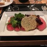 Feb 2, 2017  Appetizer: Peppercorn Crusted Bison Capaccio, Blackberry, Cranberry, Truffle
